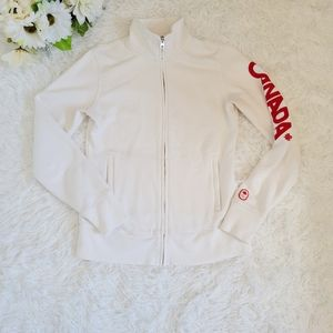 Hudson's Bay White Canada Olympics Sweater Full Zip Size XS Athletic Activewear